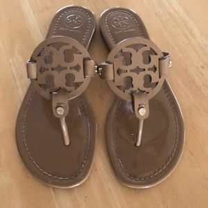 893391c3ae3c Tory Burch miller sandals tan patent leather